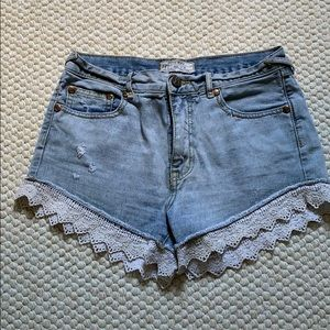 FREE PEOPLE Lace-trimmed Denim Shorts - Size 24